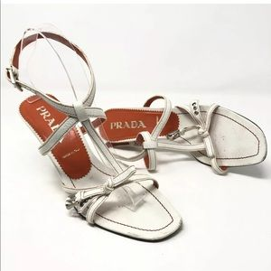 Prada 39 Vintage White Leather Ankle Sandals